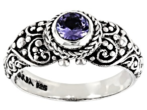 Pre-Owned Blue Tanzanite Silver Ring 0.40ct