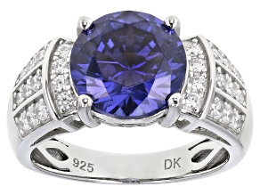 Pre-Owned Blue and White Cubic Zirconia Rhodium Over Sterling Silver Ring 4.28ctw