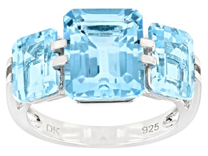 Pre-Owned Blue Topaz Rhodium Over Sterling Silver 3 Stone Ring 8.08ctw