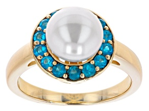 Pre-Owned White Cultured Freshwater Pearl & Neon Apatite 18k Yellow Gold Over Sterling Silver Ring
