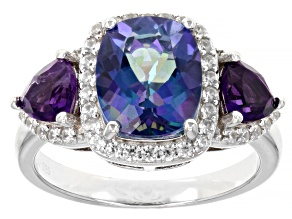 Pre-Owned Blue Petalite Rhodium Over Sterling Silver Ring. 3.18ctw