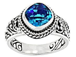 Pre-Owned Rainbow Paraiba Color Quartz Triplet Silver Ring 1.91ct