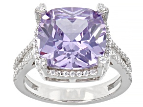 Pre-Owned Lavender And White Cubic Zirconia Rhodium Over Sterling Silver Ring 11.66ctw (7.10ctw DEW)