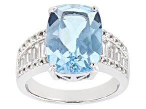 Pre-Owned Blue Topaz Rhodium Over Sterling Silver Ring. 6.67ctw