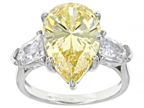 Pre-Owned Canary And White Cubic Zirconia Rhodium Over Sterling Silver Ring 10.19ctw