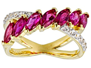 Pre-Owned Lab Created Ruby And White Cubic Zirconia 18K Yellow Gold Over Sterling Silver Ring 1.90ct