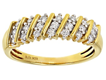 Picture of Pre-Owned Engild™ White Lab-Grown Diamond 14k Yellow Gold Over Sterling Silver Band Ring 0.30ctw