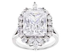Pre-Owned White Cubic Zirconia Rhodium Over Sterling Silver Ring 13.69ctw