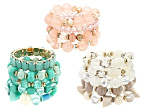 Pre-Owned Gold Tone Pink, Green, and White Beaded Set of Three Stretch Bracelets