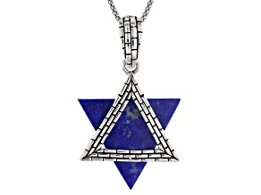 Pre-Owned Blue Lapis Lazuli Star Of David Silver Enhancer With Chain