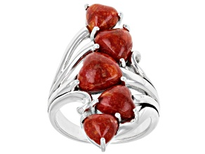 Pre-Owned Red Sponge Coral Rhodium Over Sterling Silver Cluster Heart Ring
