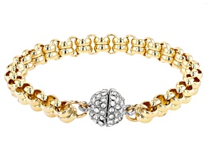 Pre-Owned Clear Crystal Gold Tone Double Rolo Bracelet