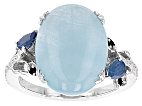 Pre-Owned Dreamy Aquamarine Rhodium Over Sterling Silver Ring 0.38ctw