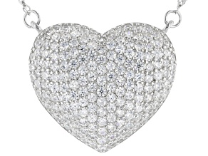 Pre-Owned White Cubic Zirconia Rhodium Over Sterling Silver Heart Necklace 2.05ctw