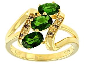Pre-Owned Green Chrome Diopside 18K Yellow Gold Over Silver Ring 1.32ctw