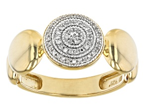 Pre-Owned White Diamond Accent 14k Yellow Gold Over Sterling Silver Cluster Ring