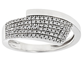 Pre-Owned White Diamond Rhodium Over Sterling Silver Bypass Ring 0.15ctw