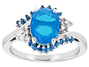 Pre-Owned Blue Opal Rhodium Over Sterling Silver Ring 1.27ctw