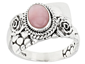 Pre-Owned Pink Opal Sterling Silver Ring
