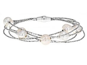 Pre-Owned White Cultured Freshwater Pearl Rhodium Over Sterling Silver Bracelet
