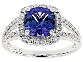 Pre-Owned Blue Tanzanite Rhodium Over 14K White Gold Ring  2.50ctw