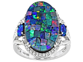 Pre-Owned Multicolor Mosaic Opal Triplet Rhodium Over Sterling Silver Ring 0.11ctw
