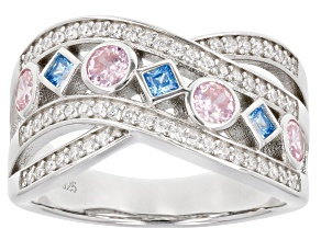 Pre-Owned Pink, Blue, And White Cubic Zirconia Rhodium Over Sterling Silver Ring 1.50ctw