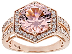 Pre-Owned Pink and White Cubic Zirconia 18K Rose Gold Over Silver Ring