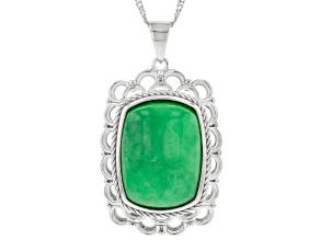 """Pre-Owned Jadeite Sterling Silver Pendant With 18"""" Chain"""