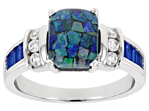 Pre-Owned Blue Mosaic Opal Triplet Rhodium Over Sterling Silver Ring 0.66ctw