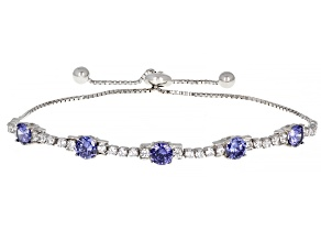 Pre-Owned Blue And White Cubic Zirconia Rhodium Over Sterling Silver Adjustable Bracelet 4.86ctw