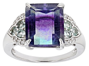 Pre-Owned Bi-Color Fluorite Rhodium Over Sterling Silver Ring. 6.59ctw
