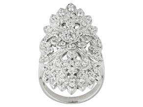 Pre-Owned Bella Luce ® 2.00ctw Round Rhodium Over Sterling Silver Ring