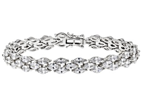 Pre-Owned White Cubic Zirconia Rhodium Over Sterling Silver Tennis Bracelet 26.13ctw