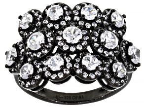 Pre-Owned White Cubic Zirconia Black Rhodium Over Sterling Silver Ring 4.23ctw