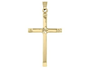 Pre-Owned 14K Yellow Gold Polished and Diamond Cut Cross with Star in Center Pendant