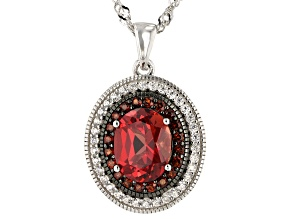 Pre-Owned Pink Lab Padparadscha Sapphire Rhodium Over Silver Pendant With Chain 4.10ctw