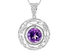 Pre-Owned Purple Moroccan Amethyst Sterling Silver Pendant With Chain 4.99ct
