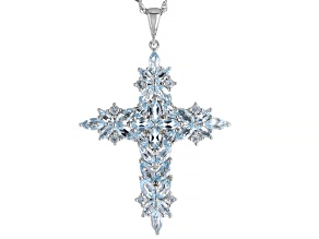 Pre-Owned Sky Blue Topaz Rhodium Over Silver Cross Pendant with Chain 4.08ctw