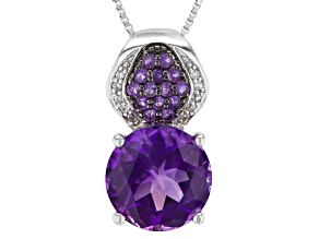 Pre-Owned Purple Amethyst Sterling Silver Pendant With Chain 4.19ctw