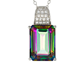 Pre-Owned Green Mystic Topaz® Rhodium Over Sterling Silver Pendant With Chain 8.19ctw