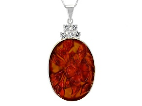 Pre-Owned Orange Carved Carnelian Silver Pendant With Chain .70ctw