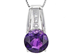 Pre-Owned Purple Moroccan Amethyst Sterling Silver Pendant With Chain 4.12ctw