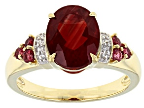 Pre-Owned Red Labradorite 10k Yellow Gold Ring 2.21ctw