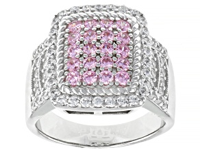 Pre-Owned Pink And White Cubic Zirconia Rhodium Over Sterling Silver Ring 2.09ctw