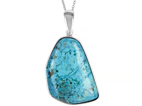 Pre-Owned Blue Chrysocolla rhodium over silver enhancer with chain