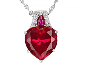 Pre-Owned Red Lab Created Ruby Rhodium Over Silver Pendant With Chain 6.92ctw