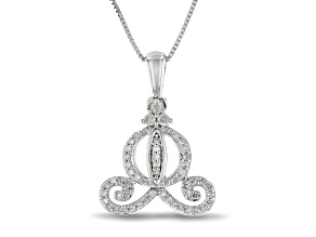 Pre-Owned Enchanted Disney Cinderella Carriage Pendant With Chain White Diamond Rhodium Over Silver