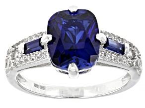 Pre-Owned Blue Lab Created Sapphire Rhodium Over Sterling Silver Ring 4.57ctw