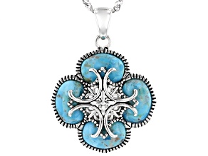 Pre-Owned Blue Turquoise Sterling Silver Pendant With Chain 6.80ctw